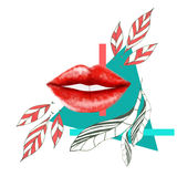 Abstract Red lips. Red lips with abstract background Stock Photography
