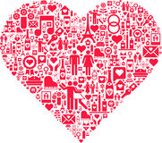 Abstract red love heart. Illustration of abstract red love heart filled with different signs and symbols, white background Royalty Free Stock Image