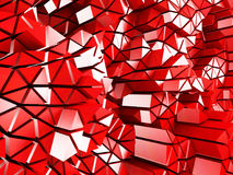 Abstract red low poly pattern glossy background. 3d render illustration Stock Photo