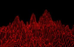 Abstract red mesh mountains. 3D illustration - Abstract red mesh mountains on black background Royalty Free Stock Photo