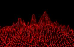 Abstract red mesh mountains. 3D illustration - Abstract red mesh mountains on black background Royalty Free Stock Photography