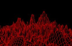 Abstract red mesh mountains. 3D illustration - Abstract red mesh mountains on black background Stock Images