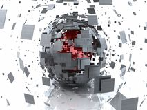 Abstract Red Metal Explosion 3D Sphere stock illustration