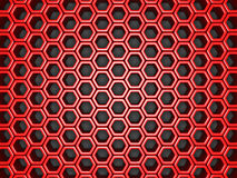 Abstract red metallic background with hexagon pattern. 3d render illustration Royalty Free Stock Photography