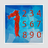 Abstract red modern triangular set of numbers on a blue geometri Stock Images