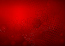 Abstract Red molecular illustration design Background. Abstract high resolution free radical molecular illustration of red faded hexagonal/geometric layered Stock Image