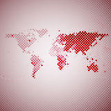 Abstract red mosaic, world map vector illustration.  Royalty Free Stock Photo