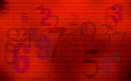 Abstract Red numbers background Stock Photography