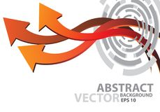 Abstract red orange arrow curve 3D on white design modern futuristic background vector Royalty Free Stock Photography