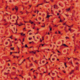 Abstract red-orange fallen numbers. 3d render background. Stock Image