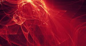 Abstract red, orange, gold light glows, beams, shapes on dark background Royalty Free Stock Photo