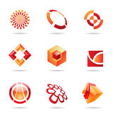Abstract red and orange Icon Set 24 Royalty Free Stock Images