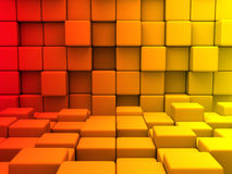 Abstract Red Orange Yellow Cubes Blocks Wall Background. 3d Render Illustration stock illustration