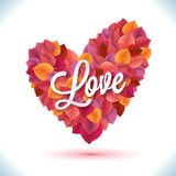 Abstract red pink orange heart leaf vector Stock Photos