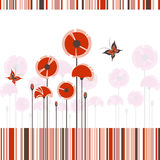 Abstract red poppy on colorful stripe background Stock Photos