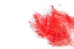 Colored powder explosion. Colore dust splatted. Abstract of red powder explosion on white background. Red powder splatted isolate. Colored cloud. Colored dust royalty free stock photos