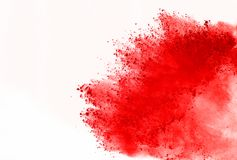 Colored powder explosion. Colore dust splatted. Abstract of red powder explosion on white background. Red powder splatted isolate. Colored cloud. Colored dust royalty free stock image
