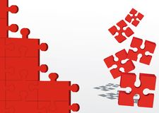 Abstract red puzzle Stock Photos