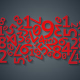 Abstract red random digits with shadows on dark Royalty Free Stock Photo