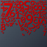 Abstract red random falling digits with shadows on Royalty Free Stock Image