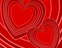 Abstract Red Retro Hearts Background. A background pattern featuring retro style hearts in a variety of red outlined colors Royalty Free Stock Images