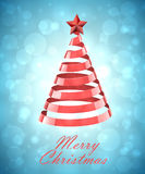 Abstract Red Ribbon Christmas Tree On Blue Background Stock Image