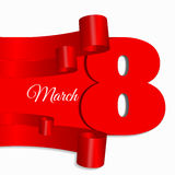 Abstract red ribbon 8 march banner  illustration eps 10 Royalty Free Stock Photography