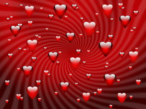 Abstract red romantic background with hearts stock image