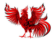 Abstract Red Rooster. Symbol Of 2017 On The Chinese Calendar. Red cock silhouette on white background,. Red fire rooster as symbol of new year 2017 in Chinese Stock Images