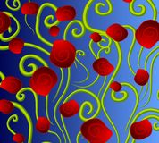 Abstract Red Roses Background. An abstract background pattern featuring colorful red roses and green stems casually arranged against blue gradient Royalty Free Stock Image