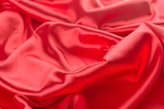 Abstract red satin fabric background. Abstract red satin fabric close up background Stock Photo