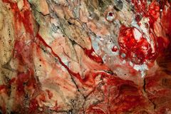 Abstract red sea, oil on canvas painting. Stock Photos