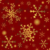 Abstract red seamless background. Abstract christmas red seamless background with snowflakes (vector stock illustration
