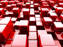 Abstract Red Shiny Blocks 3d Background. 3d Render Illustration Stock Photography