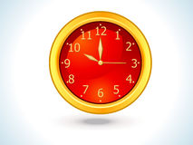 Abstract red shiny golden clock Royalty Free Stock Photo