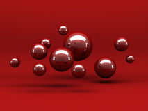Abstract Red Shiny Spheres Background Stock Photo