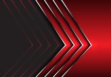 Abstract red silver arrow direction on dark gray design modern futuristic background vector. Illustration stock illustration