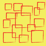 Abstract red square on yellow background Royalty Free Stock Images