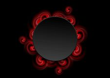 Abstract red swirl shapes and black circle Royalty Free Stock Photo