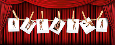 Abstract Red Theatre Stage Drape Background With S stock illustration