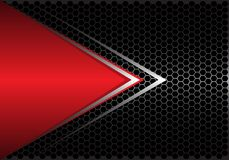 Free Abstract Red Triangle Silver Arrow On Black Hexagon Mesh Design Modern Futuristic Background Vector Stock Images - 125440624