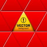 Abstract red triangular frame with yellow sign Stock Photos