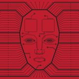 Abstract red vector background with high tech circuit Board and the face of a man vector illustration