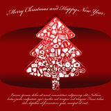 Abstract red vector Christmas background with tree. Made ??up of many things Stock Images