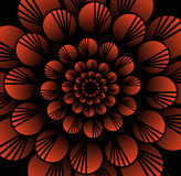 Abstract red vector flower in fractal style on black background, high contrasting decorative tile with 3d effect Royalty Free Stock Photo
