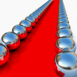Abstract red way with chrome balls around. 3d render royalty free illustration