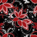Abstract red white ornament seamless pattern on black Stock Image