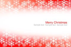 Abstract red and white snow flakes christmas background Stock Photo