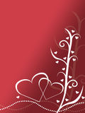 Abstract red and white valentines day card design background illustration with two hearts. And pearls Stock Photography
