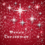 Abstract red winter background. With glowing stars and snow Royalty Free Stock Photo